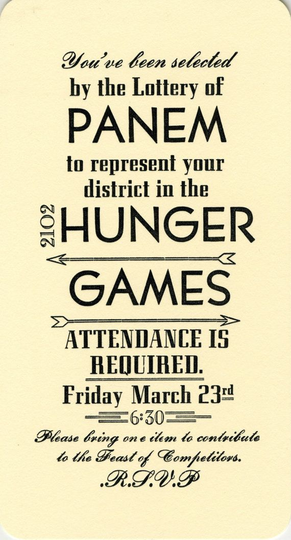 Throwing a Hunger Games premiere party? These Letterpress Hunger Games Party Invitations ($20 for a set of 10) will guarantee attendance.