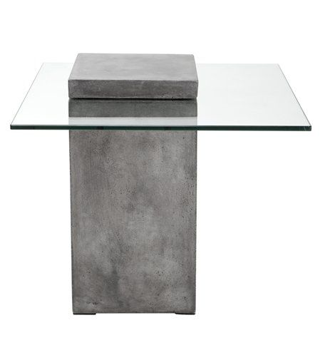 A bold concrete block defines this industrial modern end table. Features a contrasting tempered glass top embedded within the top of the base. A perfect complement to the design.