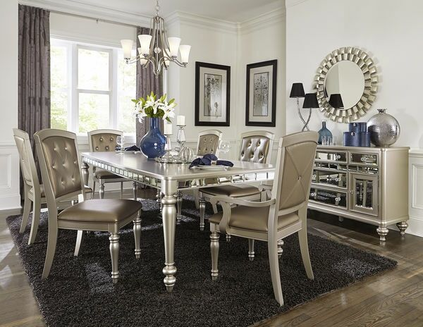 Homelegance 5477n 96 7 Pc Orsina Antique Silver Finish Wood Dining