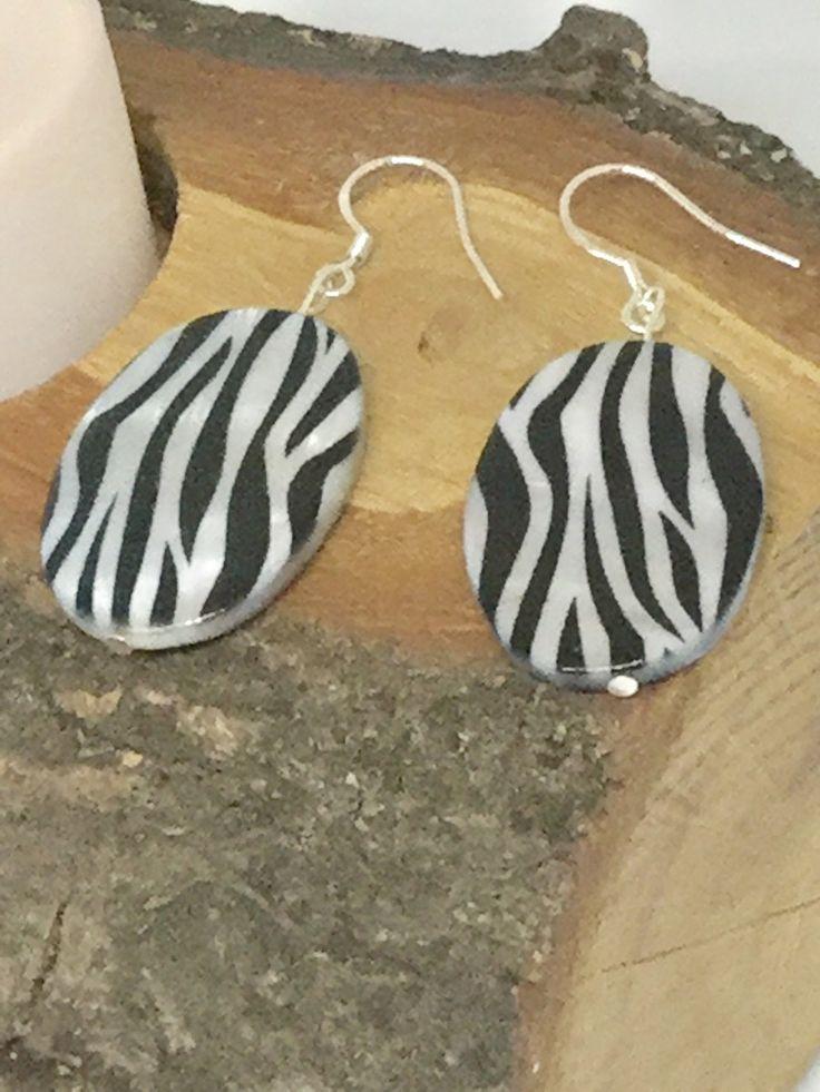 Animal print earrings, monochrome jewellery, sterling silver