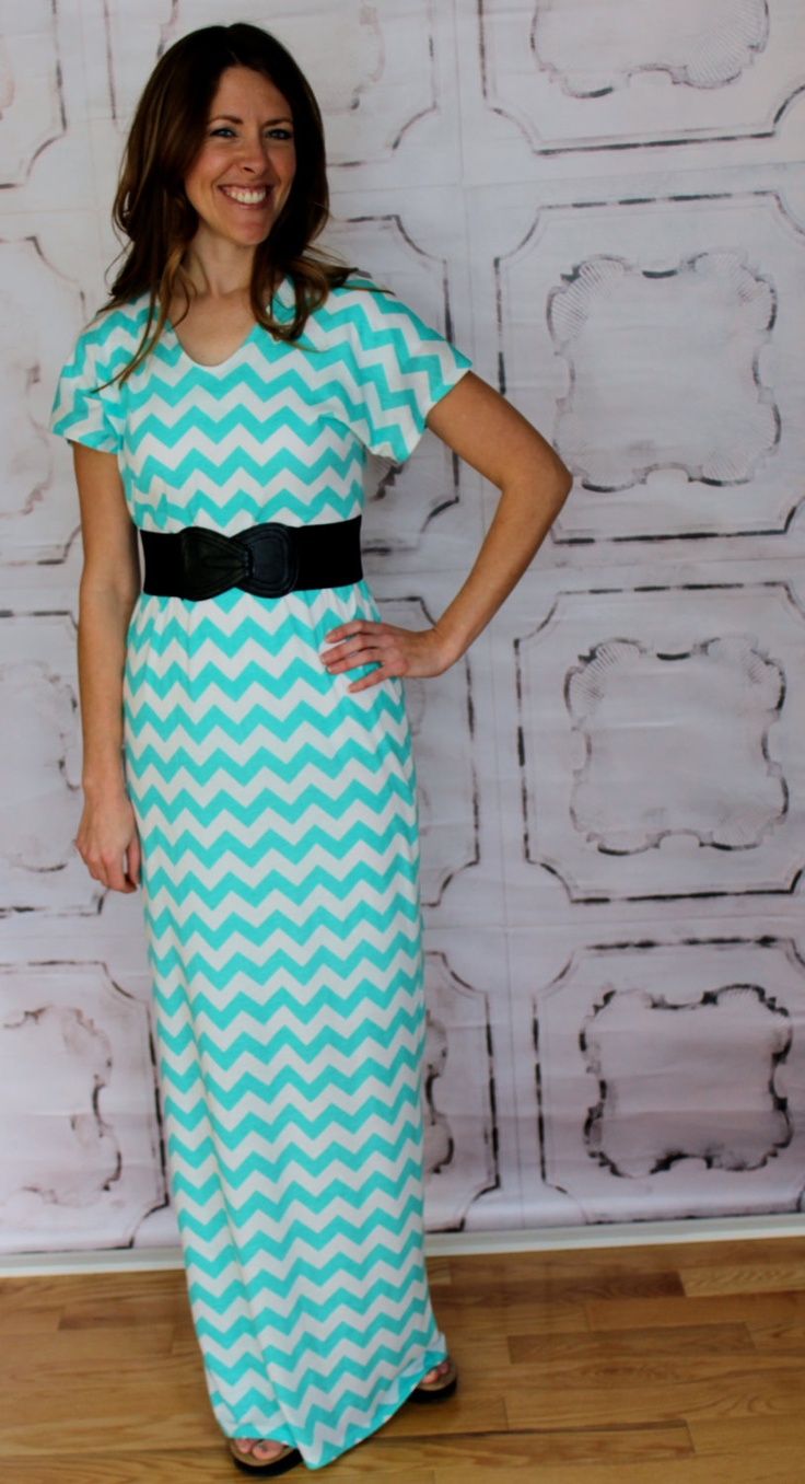 Aqua and Off White Chevron Maxi Dress for Teens by Gogreenstyle