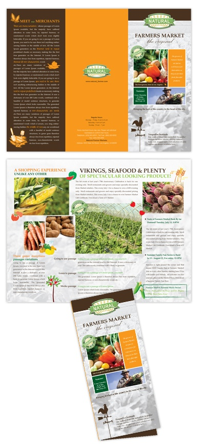 farmer 39 s market tri fold brochure template brochure pinterest mr mcgregor tri fold. Black Bedroom Furniture Sets. Home Design Ideas