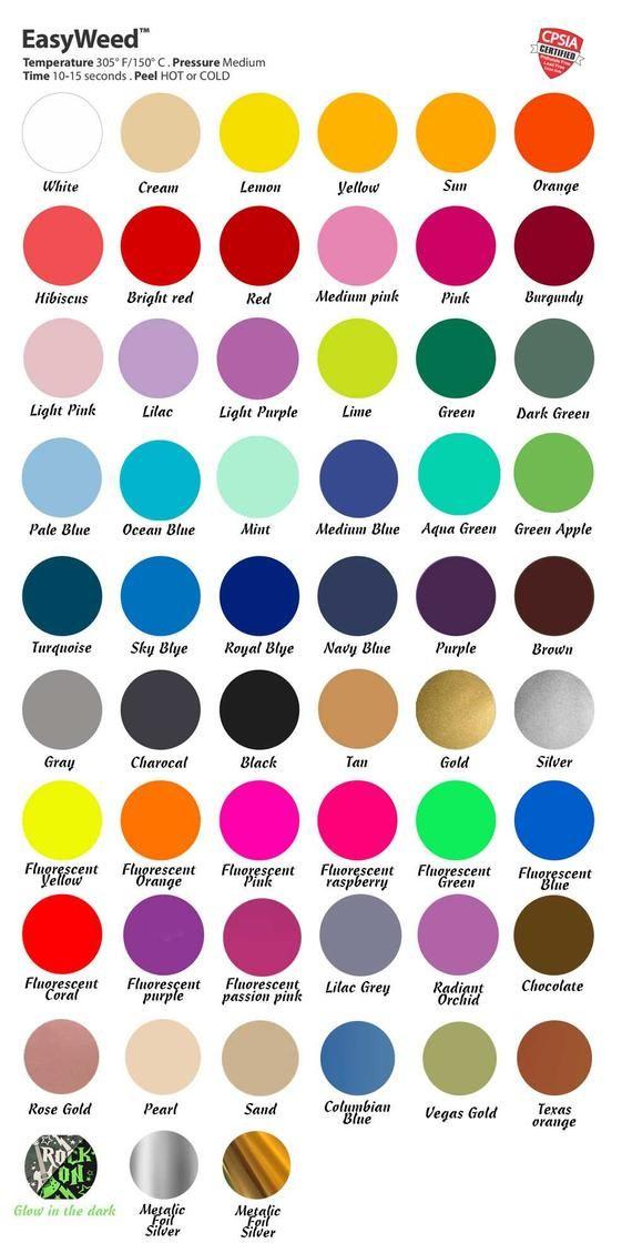 Siser Easyweed Heat Transfer Vinilo 10 X 8 25 X 20 Cm Hoja 57 Colores Vivos Otros Tallos Y Descuentos 12 X 7 5 In 2020 Vinyl Tshirts Iron On Vinyl Cricut Vinyl