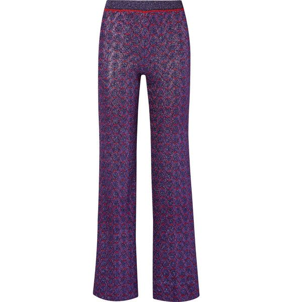 Missoni Metallic stretch-knit straight-leg pants ($1,040) ❤ liked on Polyvore featuring pants, lightweight pants, metallic trousers, pull on trousers, elastic waistband pants and light weight pants