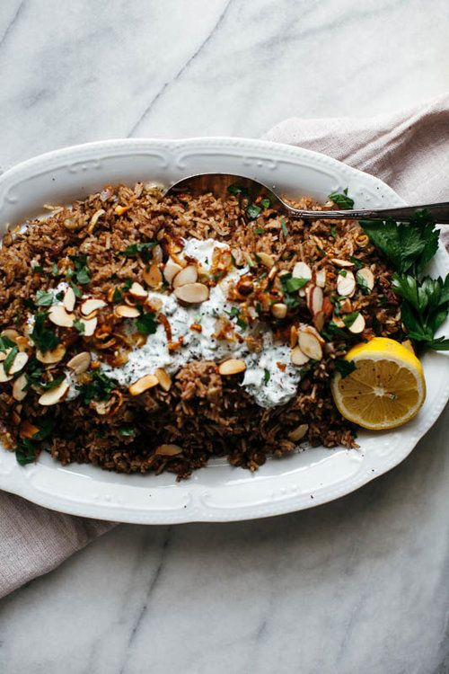 SHALLOT MUJADARA WITH HERBY YOGURT AND ALMONDS/Molly Yeh/My Name is Yeh