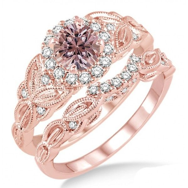 Carat Morganite Diamond Vintage Fl Bridal Set Engagement Ring On Rose Gold Say I Do With The Dazzling And Perfect Wedding