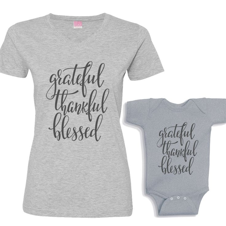 Grateful, Thankful and Blessed Matching Heather Shirt Set Charcoal Font by bodysuitsbynany on Etsy