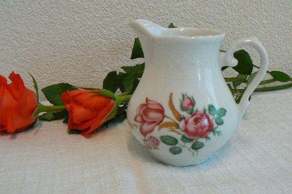 Vintage Schumann Arzberg Bavaria Porcelain - Milk Can - Creamer - Pink Roses…