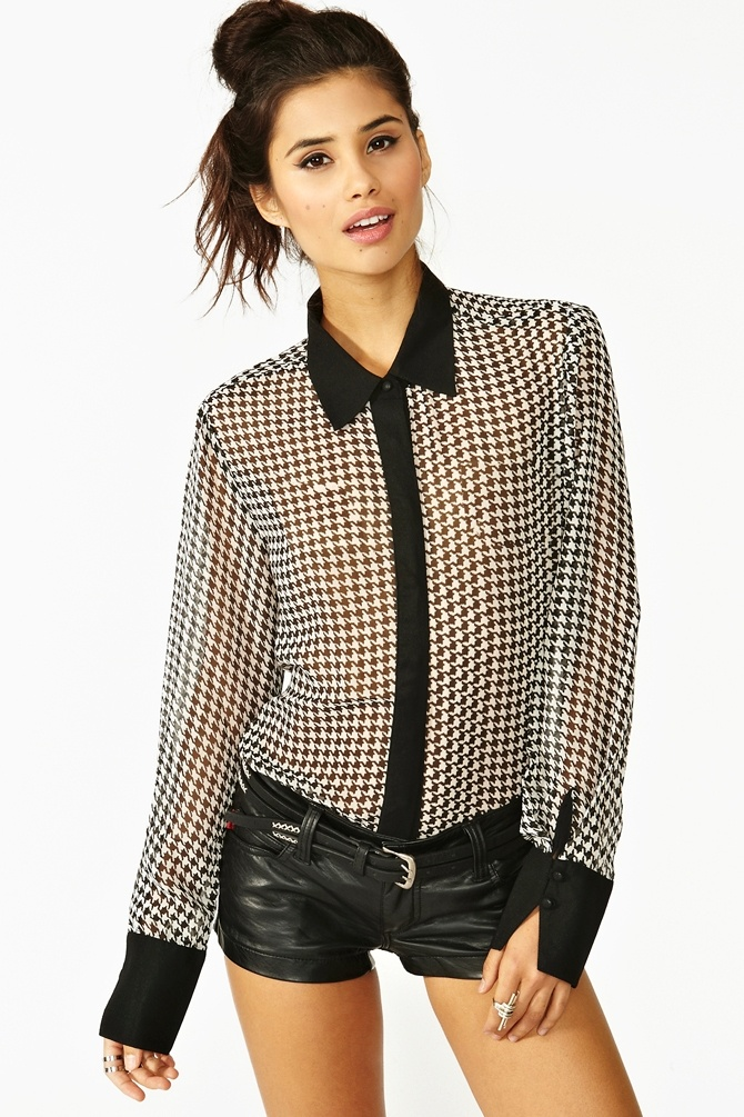 Brooke Houndstooth Blouse