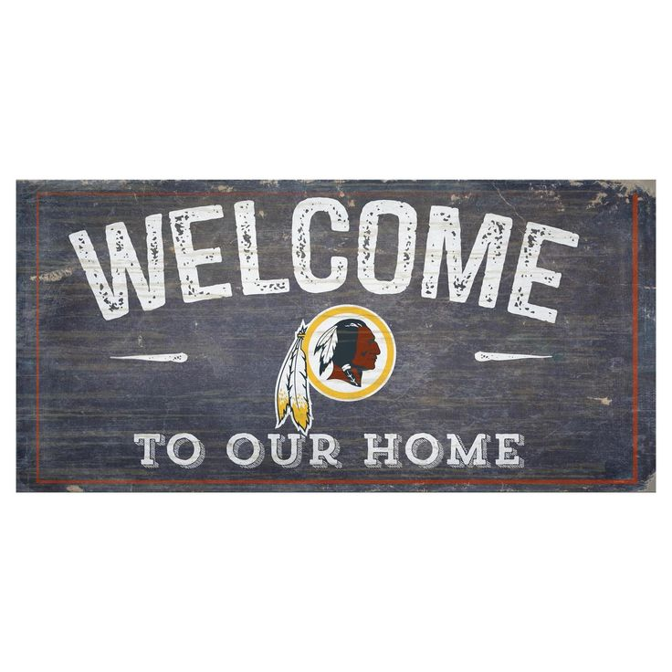 """NFL Washington Redskins Fan Creations 6""""x12"""" Welcome Distressed Sign"""