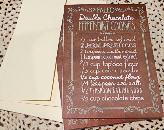 Paleo Recipe Greeting Card - Double Chocolate Peppermint Cookies - Christmas or Hanukkah Healthy Recipe - Crossfit, Primal, Nutrition