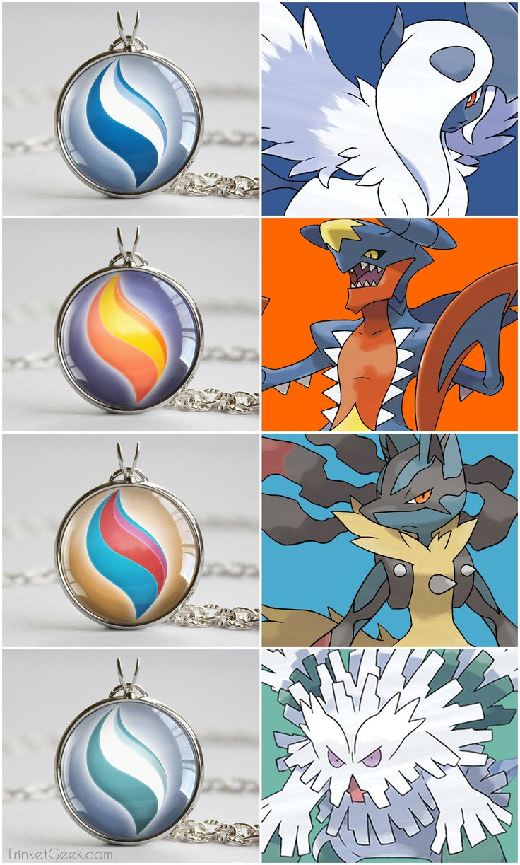 Pokemon X and Y Mega Stone necklace pendants. Absol, Garchomp, Lucario and Abomasnow. #nintendo #Hoenn #treatsforgeeks