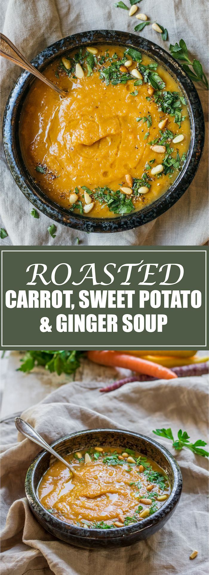 An easy recipe for a healthy and filling soup. Loaded with roasted carrots, sweet potatoes, and immune boosting ginger!