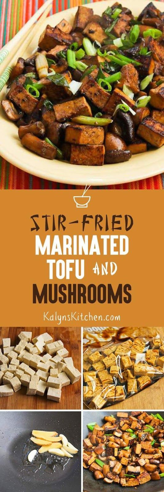 Stir-Fried Marinated Tofu and Mushrooms is a delicious dish that's meatless, low-carb, gluten-free, and it can be South Beach Diet friendly if you limit serving size. If you're not that experienced at stir-fry cooking, this post has excellent instructions and step-by-step photos.