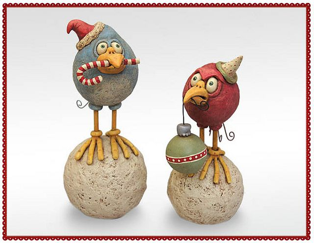 Snow Birds by Chicken Lips Folk Art--- love these guys & that they have birdliness without wings or feather detail