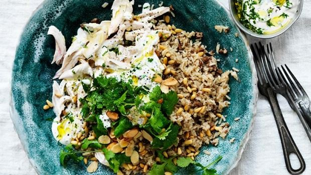 Stave off the winter's chill with this aromatic rice dish. Feeding a crowd? To make the chicken rice into a banquet, serve with minted yoghurt, tabouli, hummus and some flat bread.