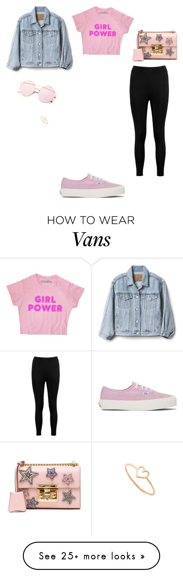 """Untitled #4037"" by anamaria-zgimbau on Polyvore featuring Vans, Gap, Boohoo, Gucci and Aurélie Bidermann"