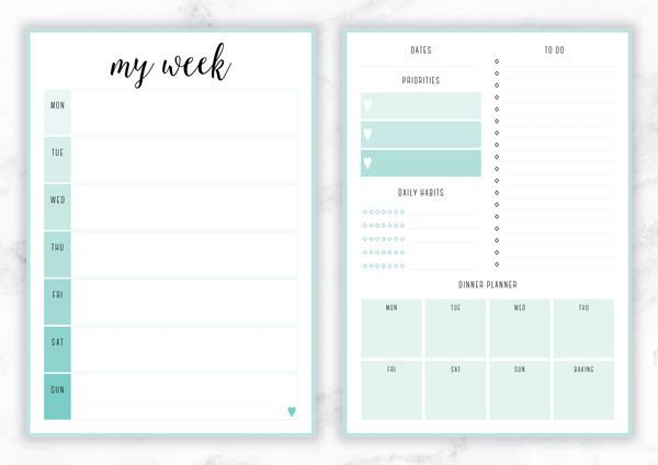Free Printable Irma 'My Week' Weekly Planner by Eliza Ellis - The perfect organizing solution for mums, entrepreneurs, bloggers, etsy sellers, professionals, WAHM's, SAHM's, students and moms. Available in 6 colors and both A4 and A5 sizes. Enjoy!