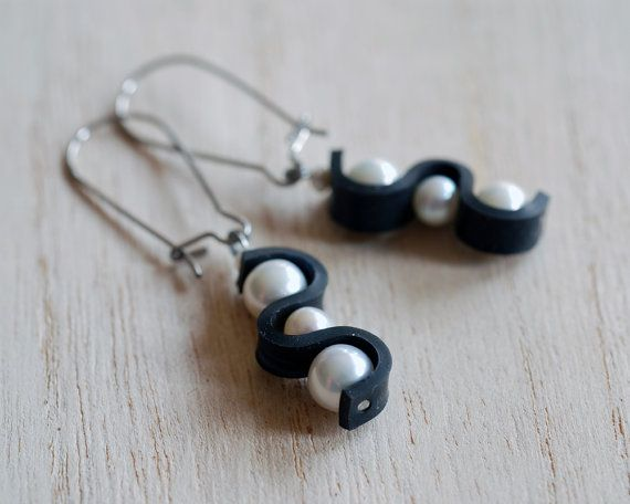 Motorcycle inner tube earrings with freshwater pearls by livelyleafdesigns