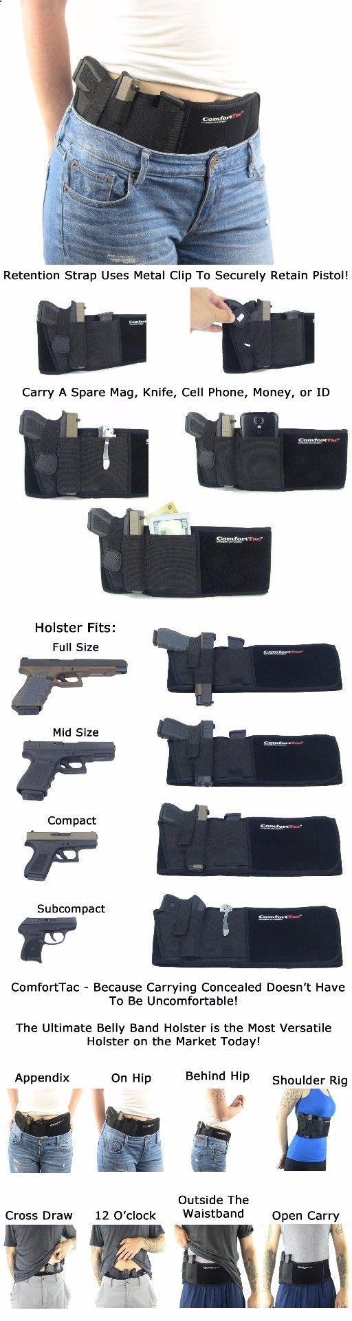 Ultimate Belly Band hand gun pistol knife Holster for Concealed Carry   Black   Fits Gun Smith and Wesson Bodyguard, Glock 19, 17, 42, 43, P238, Ruger LCP, and Similar Sized Guns   For Men and Women