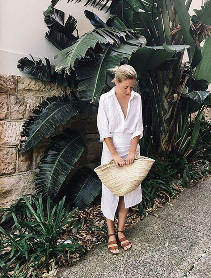 White linen shirt, wrap skirt, tan sandals & straw bag   @styleminimalism
