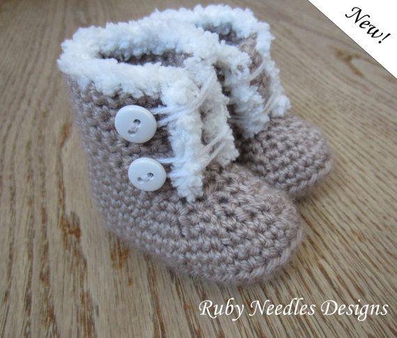 SALE Crochet PATTERN  3 sizes Furrilicious Baby Boots