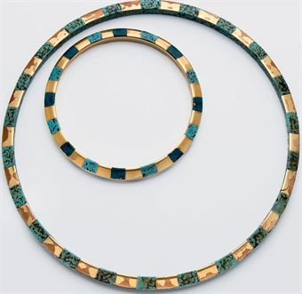 """AN ART DECO LACQUER AND OREUM """"GIRAFE"""" NECKLACE AND A BRACELET EN SUITE, BY JEAN DUNAND. His first commission for a bracelet was placed by Josephine Baker."""