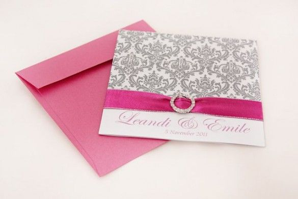 Pink floral wedding invite