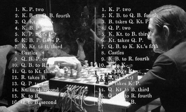 Chess notation overlaid onto an image of a musical chess match between Marcel Duchamp and John Cage (Original Image: Parsons)