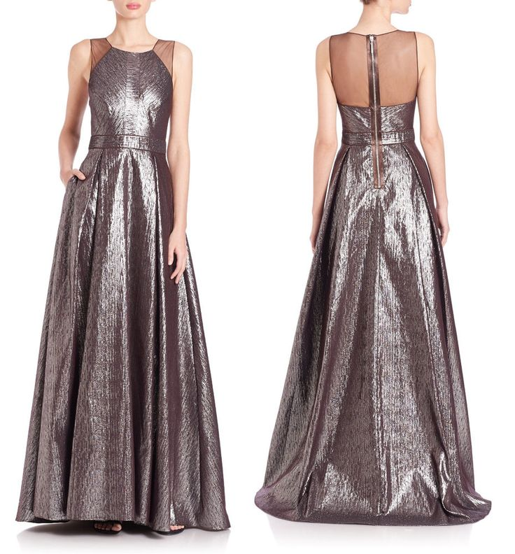 BADGLEY MISCHKA Textured Metallic Ball Gown sz 4 $990 from SAKS FIFTH AVENUE #BadgleyMischka #BallGown #Formal