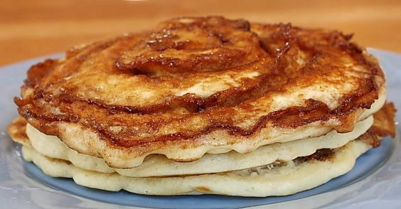 Cinnamon roll pancakes - with cream cheese glaze - Just make up pancake batter, mix up brown sugar, cinnamon and butter and swirl it ontop of the pancake batter after you pour it in the pan to cook, top with the cream cheese glaze and eat up - OMgosh, my kids would looove this!