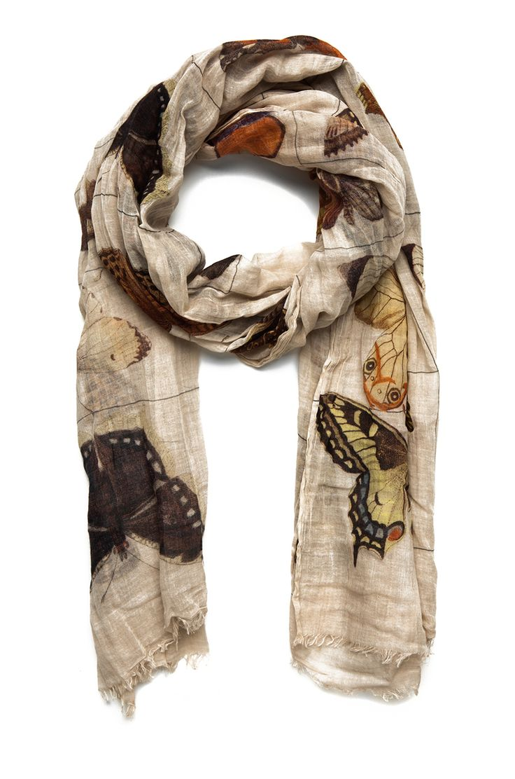 Faliero Sarti - Butterflies in Tea Stain Scarf #style #scarf #accessories