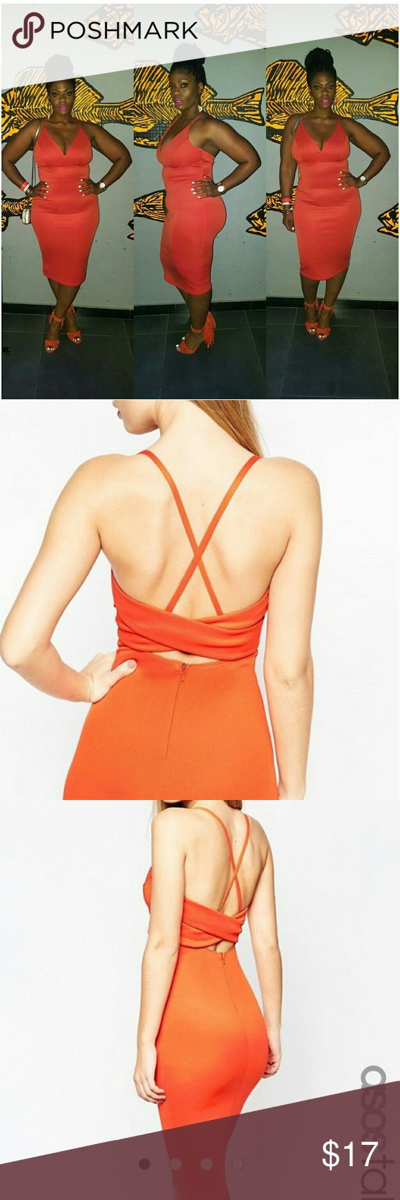 Size 12 Orange Body-Con Dress Sexy low plunge dress with low criss cross back.  Worn once in Cabo!! Asos   Dresses Midi