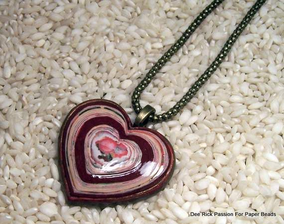 Paper Bead Heart Pendant and Snake Chain by PassionForPaperBeads, $19.99