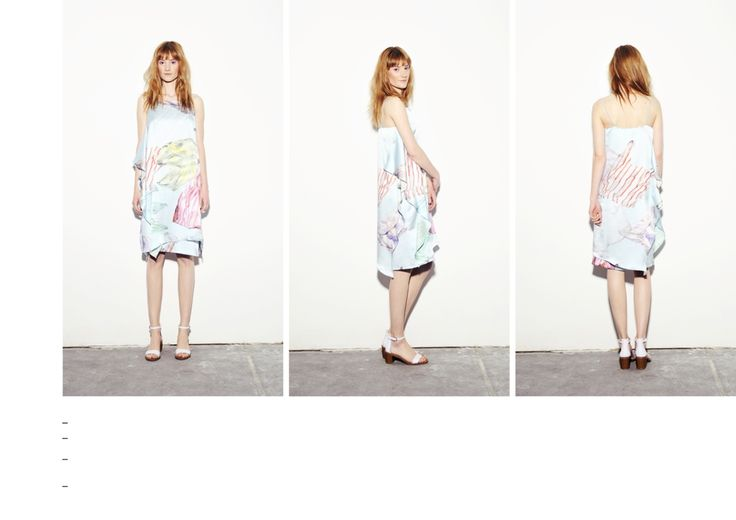 Double layered silk dress with cord detail straps and plastic bag printed pattern