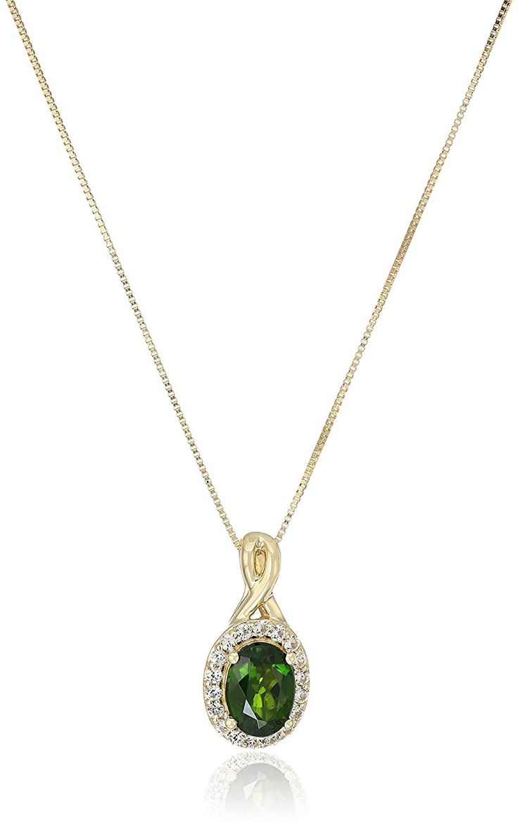 10k Yellow Gold Chrome Diopside and Created White Sapphire Pendant Necklace, 18' ** For more information, visit image link. (This is an Amazon Affiliate link and I receive a commission for the sales)