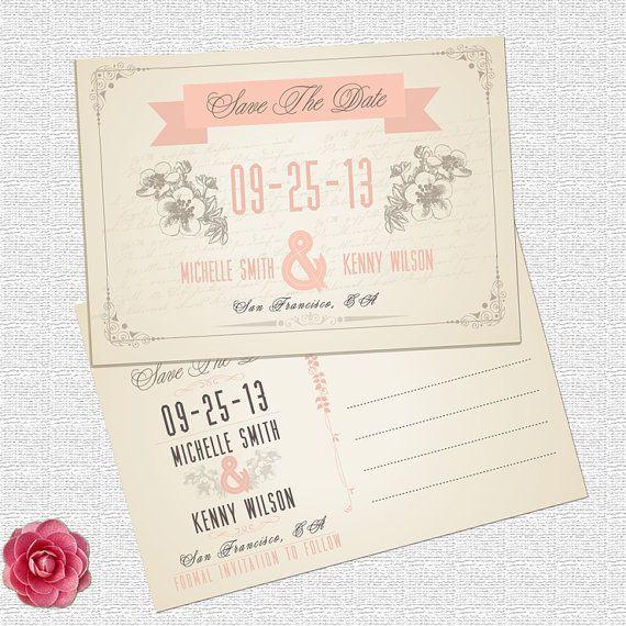 Vintage save the date wedding postcard by ElleOL on Etsy, $19.00