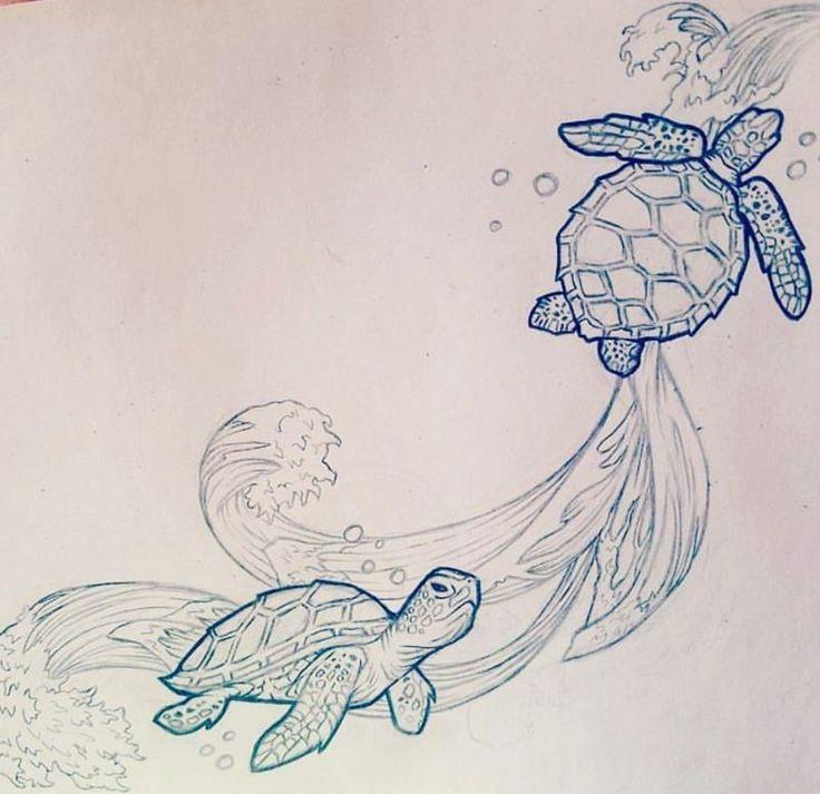 Turtle Line Drawing Tattoo : Sea turtle tattoo sketch pinterest