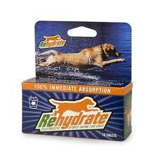 Rehydrate: Electrolyte Sports drink for Dogs REHYDRATE is designed to give canines a more effective hydration system than drinking plain water. The effervescent tablet that dissolves in water is formulated to replenish any lost electrolytes (i.e. sodium, chloride, potassium, etc.) due to aerobic activity. Also included are Vitamin C and other antioxidant minerals geared to promote general wellness.