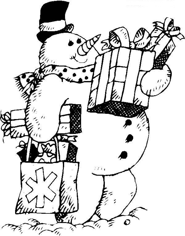 snowman shovel coloring pages - photo#26