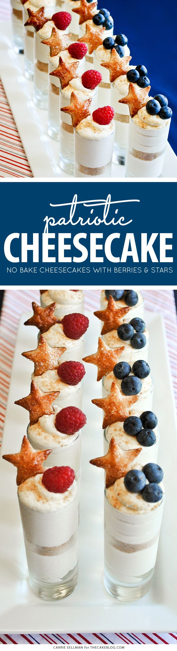 Patriotic No-Bake Cheesecake Shots for the 4th of July | by Carrie Sellman for TheCakeBlog.com