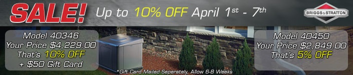 Briggs and Stratton Home Standby Generator Sale UP to 10% off on select models April 1  - 7th find out more @ www.norwall.com
