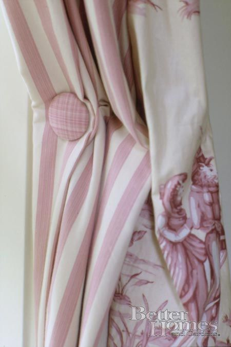 No, it's NOT shabby flippin' chic! It is pink and white stripe and toile de jouy! Stop calling everything pale shabby chic for heaven's sake!
