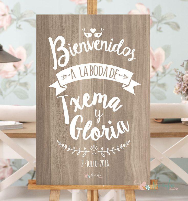Cartel de Bienvenida para boda. Vinilo sobre madera. Personalizado con los nombres y la fecha de tu boda. Tamaño 60 x 40 cms
