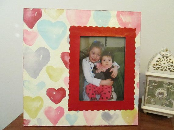 5x7 Heart Themed  Hand Decorated Picture Frame by FrameCreations, $17.00