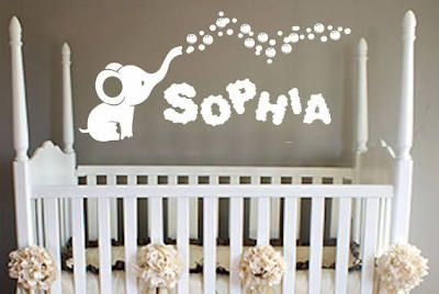 Name Wall Decal - Elephant Wall ...