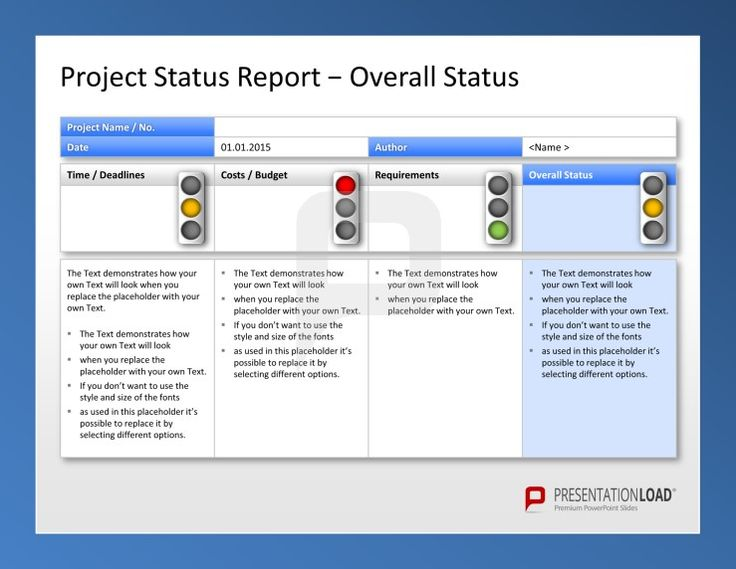 Use the Project Management PowerPoint Templates to report your project status with traffic lights.  #presentationload  www.presentationl...