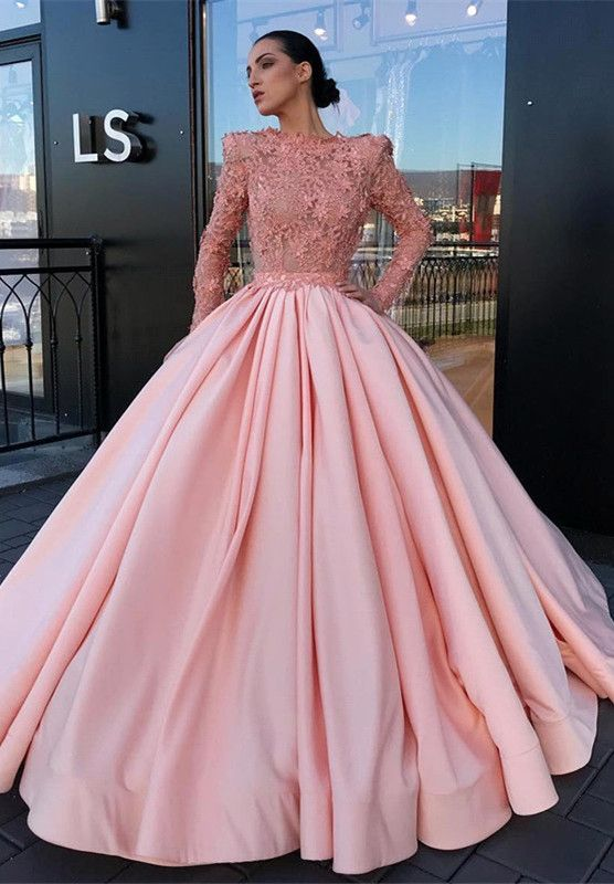 033bb163f1df Long Sleeve Ball Gown Pink Prom Dress