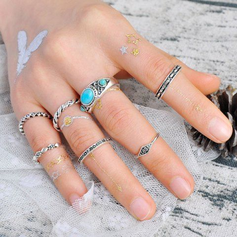 Faux Turquoise Geometric Engraved Gypsy Ring Set - SILVER