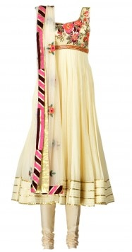 Love the pop of #floral pattern on this white #anarkali. Screams elegance!